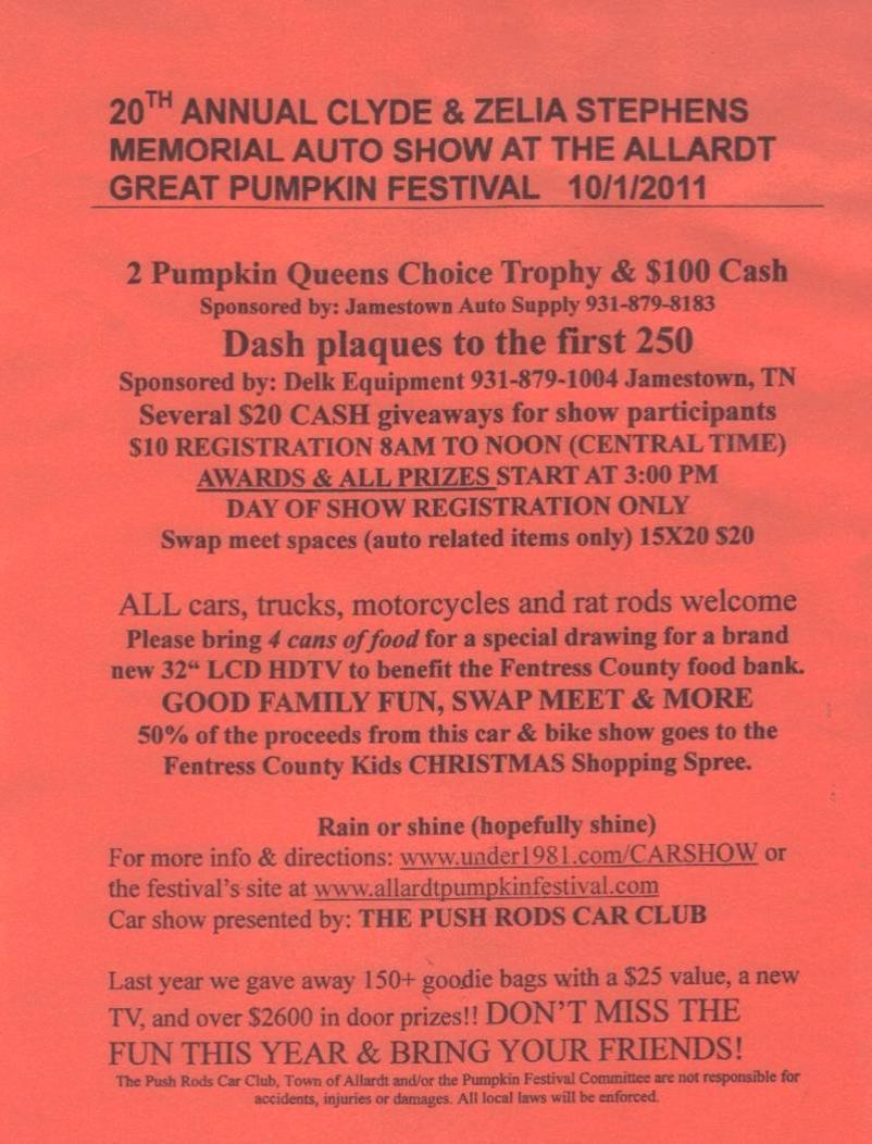 Allardt Pumpkin Festival  Car Show